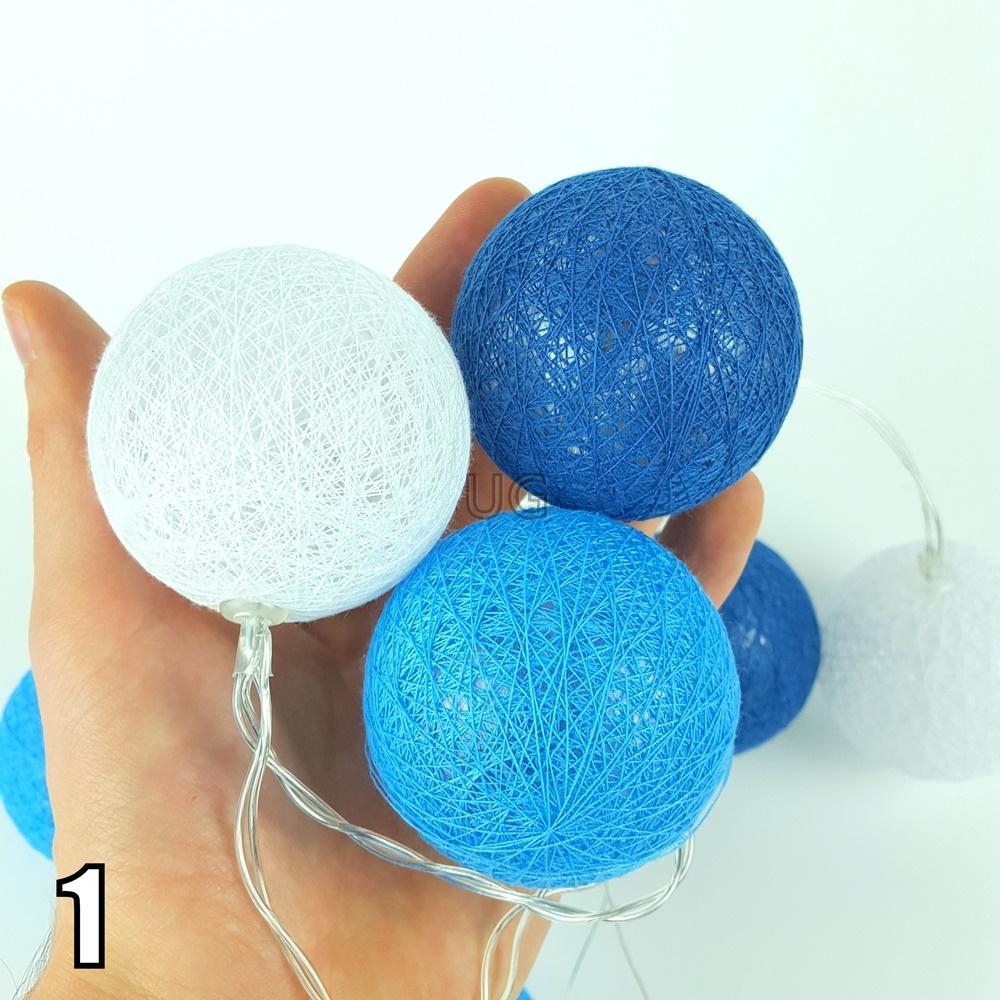 10 medvilninių burbulų LED girlianda su baterijomis