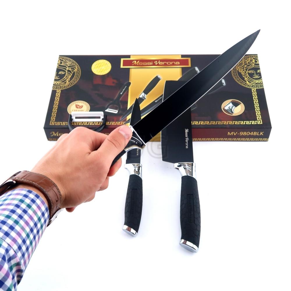 4 dalių peilių rinkinys 4089BLK   Virtuviniai peiliai