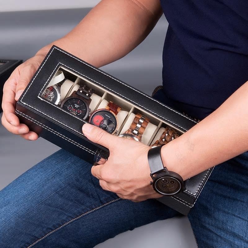 Odinė dėžutė laikrodžiams su 6 skyriais