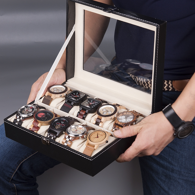 Odinė dėžutė laikrodžiams su 10 skyrių
